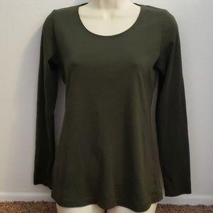 J Jill Small Perfect Pima Cotton Long Sl Top Shirt